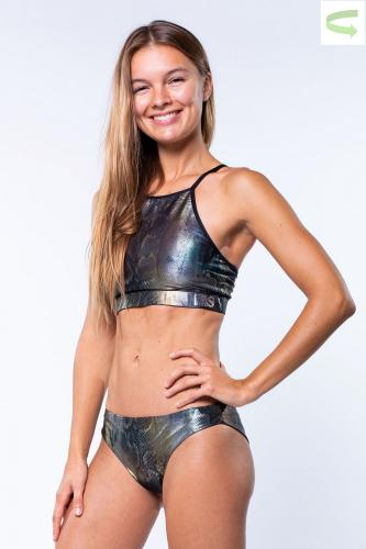 Metallic Snake -  Reversible Bikini Set - Bustier and Pant Slim