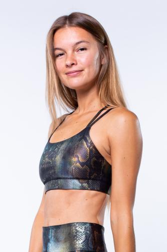 "Reverse Bikini Top ""Metallic Snake"" Diamond Back"